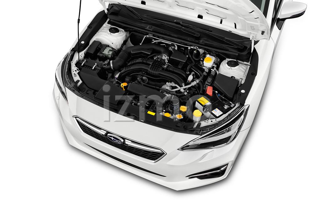 Car Stock 2018 Subaru Impreza Premium 5 Door Hatchback Engine  high angle detail view