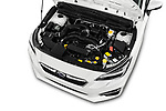 Car Stock 2018 Subaru Impreza Premium 5 Door Hatchback Engine  high angle detail view