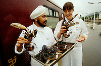 The sous-chefs of the Royal Scotsman loading fresh lobsters at Fort William.