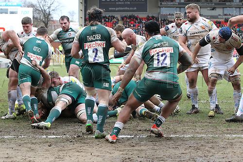 06.03.2016. Welford Road, Leicester, England. Aviva Premiership. Leicester Tigers versus Exeter Chiefs.  The Exeter forwards camped on there Tigers try line for long periods of the second half