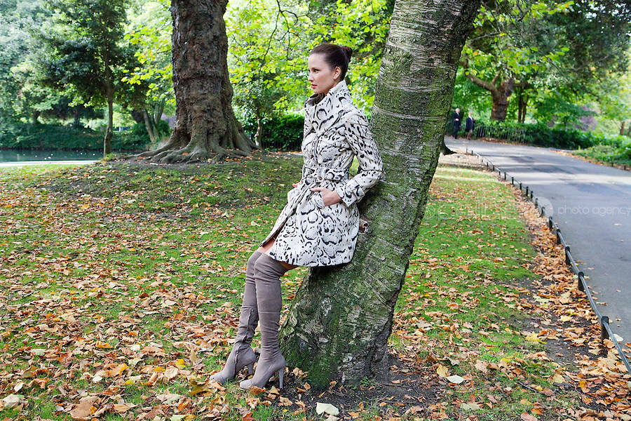30/9/2010. Karen Millen Autumn Winter 2010 Christmas collection. Model Baiba is pictured wearing a snow leopard coat EUR450 and taupe thigh high boots EUR450 at a sneak preview of the Karen Millen Autumn Winter 2010 Christmas collection in Dublin. Picture James Horan/Collins Photos