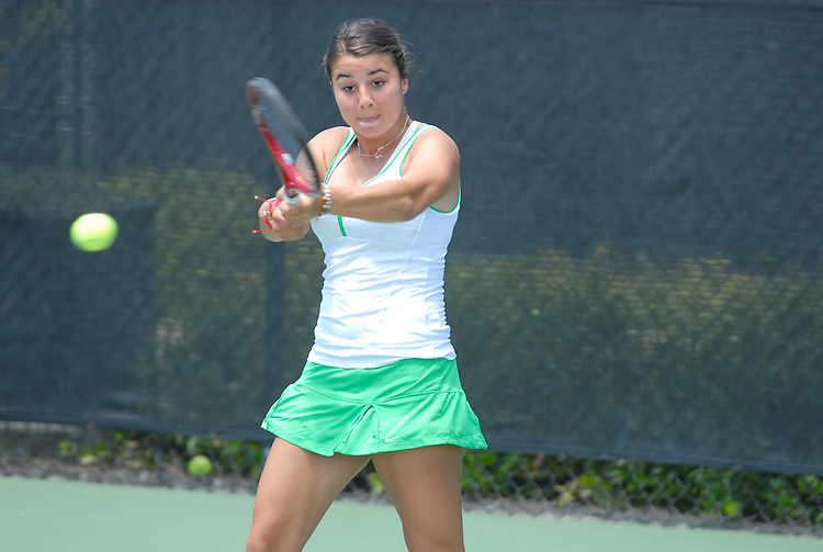 April 25, 2012; San Diego, CA, USA; San Francisco Dons athlete Marina Nikolic during the WCC Tennis Championships at the Barnes Tennis Center.