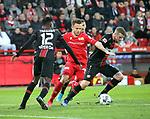 15.02.2020, Stadion an der Wuhlheide, Berlin, GER, 1.FBL, 1.FC UNION BERLIN  VS. Bayer Leverkusen, <br /> DFL  regulations prohibit any use of photographs as image sequences and/or quasi-video<br /> im Bild Marcus Ingvartsen (1.FC Union Berlin #32),<br /> Edmond Tapsoba (Bayer Leverkusen #12), Lars Bender (Bayer Leverkusen #8)<br /> <br /> <br />      <br /> Foto © nordphoto / Engler