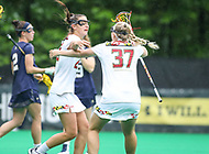 College Park, MD - May 19, 2018: Maryland Terrapins players celebrates after scoring a gaol during the quarterfinal game between Navy and Maryland at  Field Hockey and Lacrosse Complex in College Park, MD.  (Photo by Elliott Brown/Media Images International)