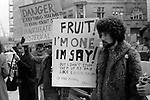 "Gay Liberation Front. Demonstration by Gay and Lesbian activists against Pan books. Central London 1971. Sex Doctor David Reuben publication of his book ""Everything You Always Wanted To Know About Sex"", which suggested that all gay men were ""obsessed with shoving vegetables up their ..."""