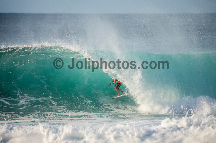 Off The Wall-Backdoor,  OAHU - HAWAII, USA: (Friday, December 10, 2015): Sheldon Simkus (AUS) The swell was in the 4'-6' range today with variable winds and passing showers. There were sessions at Off The wall and Backdoor once the contest finished <br />  Photo: joliphotos.com