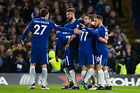 Chelsea's Eden Hazard celebrates scoring the opening goal with team mates <br /> <br /> Photographer Craig Mercer/CameraSport<br /> <br /> The Premier League - Chelsea v West Bromwich Albion - Monday 12th February 2018 - Stamford Bridge - London<br /> <br /> World Copyright &copy; 2018 CameraSport. All rights reserved. 43 Linden Ave. Countesthorpe. Leicester. England. LE8 5PG - Tel: +44 (0) 116 277 4147 - admin@camerasport.com - www.camerasport.com