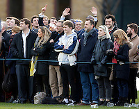The crowd look on during the 2016 Pcubed Rugby League Varsity game between Oxford University and Cambridge University at the HAC ground, London, on Fri March 4, 2016