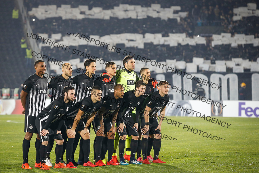 BELGRADE, SERBIA - NOVEMBER 23: Players of the Partizan pose for a photo prior to the UEFA Europa League group B match between Partizan and BSC Young Boys at Stadium Partizan on November 23, 2017 in Belgrade, Serbia. (Photo by Srdjan Stevanovic/Getty Images)