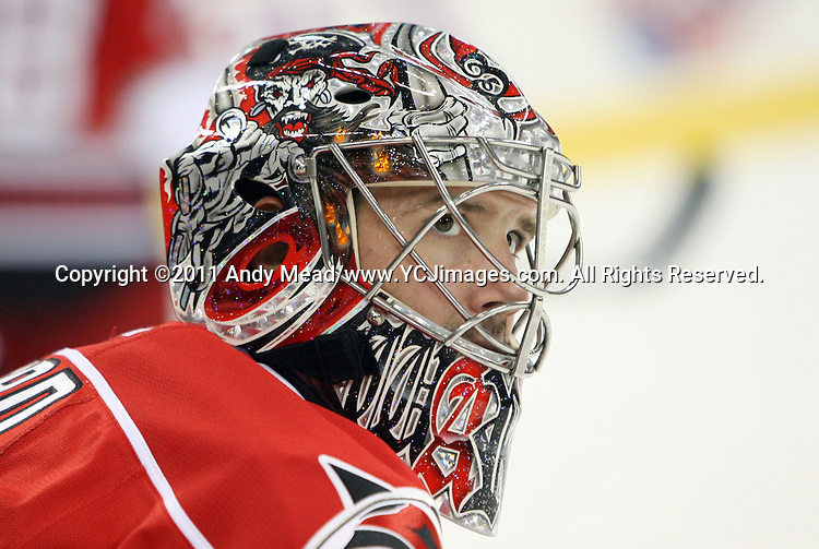 30 September 2011: Carolina's Cam Ward. The Carolina Hurricanes played the Columbus Blue Jackets at the RBC Center in Raleigh, North Carolina in a 2011-2012 preseason National Hockey League game.