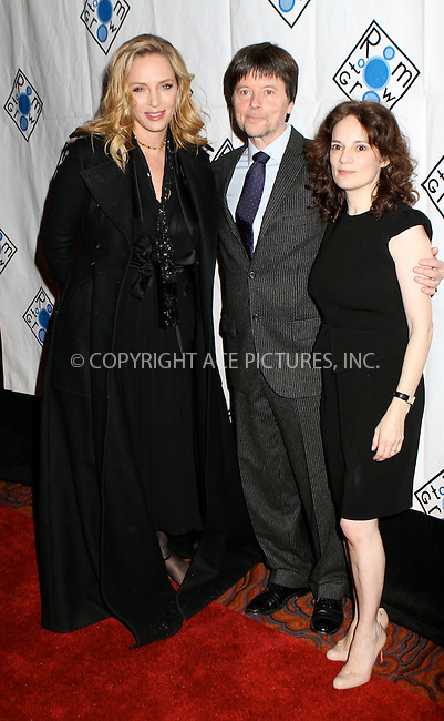 WWW.ACEPIXS.COM . . . . .  ....February 6 2012, New York City....Actress Uma Thurman, filmmaker Ken Burns and Julie Burns  at the 2012 Room to Grow fundraising gala at the Mandarin Oriental Hotel on February 6, 2012 in New York City. ....Please byline: NANCY RIVERA- ACEPIXS.COM.... *** ***..Ace Pictures, Inc:  ..Tel: 646 769 0430..e-mail: info@acepixs.com..web: http://www.acepixs.com