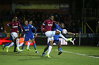 West Ham United's Issa Diop with a shot towards goal<br /> <br /> Photographer Rob Newell/CameraSport<br /> <br /> Emirates FA Cup Fourth Round - AFC Wimbledon v West Ham United - Saturday 26th January 2019 - Kingsmeadow Stadium - London<br />  <br /> World Copyright © 2019 CameraSport. All rights reserved. 43 Linden Ave. Countesthorpe. Leicester. England. LE8 5PG - Tel: +44 (0) 116 277 4147 - admin@camerasport.com - www.camerasport.com