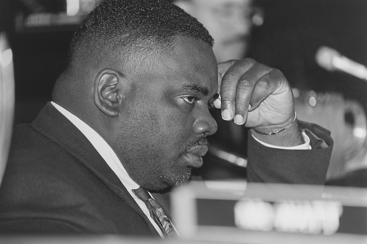 Rep. Albert Wynn, D-Md., listening to witnesses at a post office and civil service commission hearing. Health care reform proposal and employee organization on Nov. 18, 1993. (Photo by Maureen Keating/CQ Roll Call via Getty Images)