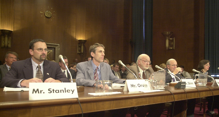 2superfund111401 -- Testimony's were given by (from left) Bill Stanley (Synthetic Organic Chemical Manufactures Assn.), Paul Orum (Working Group on Community Right to Know), Robert Shinn Jr. (New Jersey Department of Environmental Protection), Fred Weber (American Chemistry Council), and Rena Steinzor (National Recources Defense Council) at the Superfund, Toxics, Risk and Waste Management Subcommittee hearing on S.1602, to help protect the public against the threat of chemical attack, on Wednesday.  Declining to attend were Christine Todd Whitman of the EPA and Attorney General John Ashcroft.