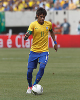 Brazil forward Neymar (11) brings the ball forward. In an international friendly (Clash of Titans), Argentina defeated Brazil, 4-3, at MetLife Stadium on June 9, 2012.