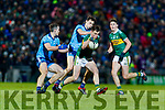 Jack Barry Kerry in action against  Brian Fenton and Darren Gavin Dublin during the Allianz Football League Division 1 Round 3 match between Kerry and Dublin at Austin Stack Park in Tralee, Kerry on Saturday night.