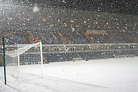 General view of the pitch and Woodlands stand at Wycombe Wanderers FC covered in snow after the match was abandoned with only twenty two minutes played during Wycombe Wanderers vs Macclesfield Town, Coca Cola League Division Two Football at Adams Park on 28th October 2008