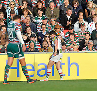Leicester, England. Tom Williams of Harlequins scores the only try of the game and pulls a hamstring during the Aviva Premiership match between Leicester Tigers and Harlequins at Welford Road on September 22, 2012 in Leicester, England.
