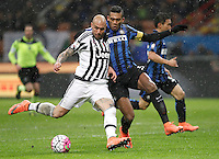 Calcio, Coppa Italia: semifinale di ritorno Inter vs Juventus. Milano, stadio San Siro, 2 marzo 2016. <br /> Juventus&rsquo;s Simone Zaza, left, is challenged by FC Inter&rsquo;s Juan Jesus during the Italian Cup second leg semifinal football match between Inter and Juventus at Milan's San Siro stadium, 2 March 2016.<br /> UPDATE IMAGES PRESS/Isabella Bonotto