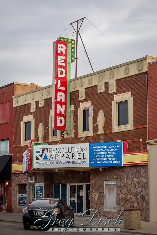 The Redland Theater in Clinton Oklahoma on Route 66, is no longer operated as a theater but has been restored to its former glory on the outside.