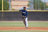 Milwaukee Brewers shortstop Jean Carmona (36) makes a throw to first base during an Instructional League game against the San Diego Padres on September 27, 2017 at Peoria Sports Complex in Peoria, Arizona. (Zachary Lucy/Four Seam Images)