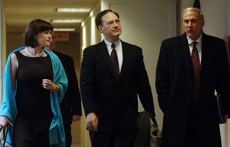 01/19/06.ALITO--US Supreme Court nominee Samual A. Alito Jr., arrives with White House aid Jamie Brown (L) and former Senator Dan Coats, R-Ind., for a meeting with Sen. Robert Menendez, D-N.J..CONGRESSIONAL QUARTERLY PHOTO BY SCOTT J. FERRELL