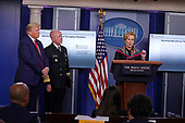 Dr. Deborah L. Birx, White House Coronavirus Response Coordinator, speaks during a news conference at the White House in Washington D.C., U.S. on Monday, April 20, 2020. Looking on at left is United States President Donald J. Trump and Admiral Brett Giroir, US Assistant Secretary for Health.<br /> Credit: Tasos Katopodis / Pool via CNP