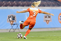 Houston, TX - Wednesday June 28, 2017: Rachel Daly takes a shot at the Boston goal during a regular season National Women's Soccer League (NWSL) match between the Houston Dash and the Boston Breakers at BBVA Compass Stadium.