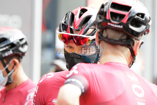 Chris Froome (GBR) Team Ineos at sign on before Stage 3 of the Route d'Occitanie 2020, running 163.5km from Saint-Gaudens to Col de Beyrède, France. 3rd August 2020. <br /> Picture: Colin Flockton | Cyclefile<br /> <br /> All photos usage must carry mandatory copyright credit (© Cyclefile | Colin Flockton)