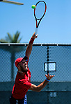 SURPRISE, AZ - MAY 12: Arnold Kokulewski of the Columbus State Cougars serves a ball against Flavio Matteoli of the Barry Buccaneers during the Division II Men's Tennis Championship held at the Surprise Tennis & Racquet Club on May 12, 2018 in Surprise, Arizona. (Photo by Jack Dempsey/NCAA Photos via Getty Images)