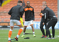 Blackpool's Nathan Delfouneso during the pre-match warm-up <br /> <br /> Photographer Kevin Barnes/CameraSport<br /> <br /> The EFL Sky Bet League One - Blackpool v Gillingham - Saturday 4th May 2019 - Bloomfield Road - Blackpool<br /> <br /> World Copyright © 2019 CameraSport. All rights reserved. 43 Linden Ave. Countesthorpe. Leicester. England. LE8 5PG - Tel: +44 (0) 116 277 4147 - admin@camerasport.com - www.camerasport.com