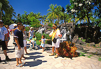 A local hawaiian historian gives visitors a guided tour along the Waikiki Historic Trail located near waikiki beach and Kalakaua ave.  The daily tour lasts about an hour and highlights some of waikiki's more meaningful history.