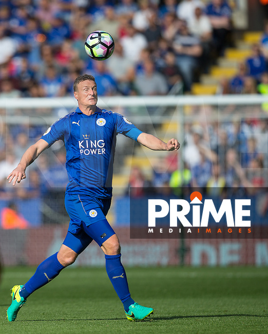 Robert Huth of Leicester City heads clear during the Premier League match between Leicester City and Southampton at the King Power Stadium, Leicester, England on 2 October 2016. Photo by Andy Rowland.