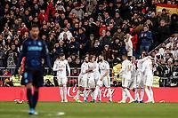 23rd November 2019; Estadio Santiago Bernabeu, Madrid, Spain; La Liga Football, Real Madrid versus Real Sociedad; Luka Modric (Real Madrid)  celebrates his goal which made it 3-1 in the 74th minute