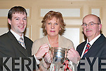 CUP: Kieran OMahony, Dorothy Moynihan and Dermie Moynihan with the East Kerry minor cup at the Rathmore GAA Social in the River Island Hotel, Castleisland, last Friday night..
