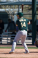 Oakland Athletics designated hitter Kyle Nowlin (14) during a Minor League Spring Training game against the Chicago Cubs at Sloan Park on March 19, 2018 in Mesa, Arizona. (Zachary Lucy/Four Seam Images)
