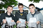 Stephen Mannix Castleisland, Sean O'Connor Scartaglen and Thomas Reidy Cordal who were delighted with their Leaving Cert results at Castleisland Community College on Wednesday morning