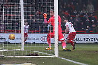 Danny Newton of Stevenage scores the first goal for his team and celebrates during Stevenage vs Luton Town, Sky Bet EFL League 2 Football at the Lamex Stadium on 10th February 2018