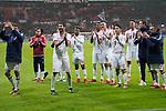 13.01.2018, BayArena, Leverkusen , GER, 1.FBL., Bayer 04 Leverkusen vs. FC Bayern M&uuml;nchen<br /> im Bild / picture shows: <br /> die Bayern freuen sich &uuml;ber den Sieg.. mit den Fans in ihrer Kurve <br /> <br /> <br /> Foto &copy; nordphoto / Meuter