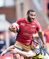 Picture by Allan McKenzie/SWpix.com - 22/04/2018 - Rugby League - Ladbrokes Challenge Cup - York City Knight v Catalans Dragons - Bootham Crescent, York, England - Catalans Fouad Yaha is tackled by Yorks Andy Ellis.