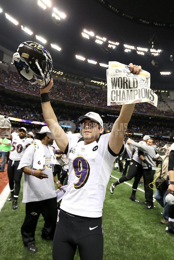 Feb 3, 2013; New Orleans, LA, USA; Baltimore Ravens kicker Justin Tucker (9) celebrates after defeating the San Francisco 49ers in Super Bowl XLVII at the Mercedes-Benz Superdome. Mandatory Credit: Mark J. Rebilas-
