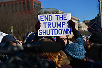 Washington, DC - January 10, 2019:  Federal government workers and member of the AFL-CIO rally in front of the White House to protest the government shutdown on it's 19th day, January 10, 2019.  (Photo by Don Baxter/Media Images International)