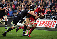 David Bulbring of the Scarlets  (R) is grabbed by Olly Cracknell of the Ospreys preventing him from scoring a try during the Guinness PRO14 Round 6 match between Ospreys and Scarlets at The Liberty Stadium , Swansea, Wales, UK. Saturday 07 October 2017