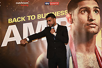 Amir Khan during a Press Conference at the Dorchester Hotel on 10th January 2018