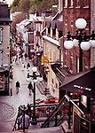 Shops and restaurants on a historic street Rue du Petit Champlain in old Quebec City, view from above. Quebec, Canada. Ville de Québec.