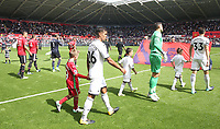 Federico Fernandez of Swansea City leads the team out prior to kick off of the Premier League match between Swansea City and Manchester United at The Liberty Stadium, Swansea, Wales, UK. Saturday 18 August 2017