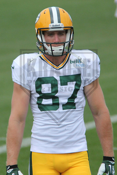 GREEN BAY - July 2013: Jordy Nelson (87) of the Green Bay Packers, during a training camp practice on July 30, 2013 at Ray Nitschke Field in Green Bay, Wisconsin. (Photo by Brad Krause)
