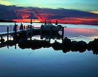 Docked in Tavernier, FL while the sun sets in red splendor