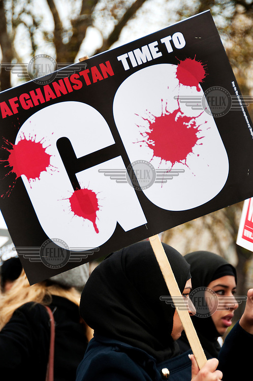 Women marching in London a protest against the war in Afghanistan.