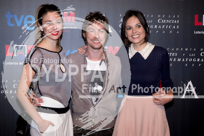 28/01/2012. Real Casa de Correos. Madrid. Spain. Goya Awards Nominated Gala 2012. Blanca Suarez, Jan Cornet and Elena Anaya
